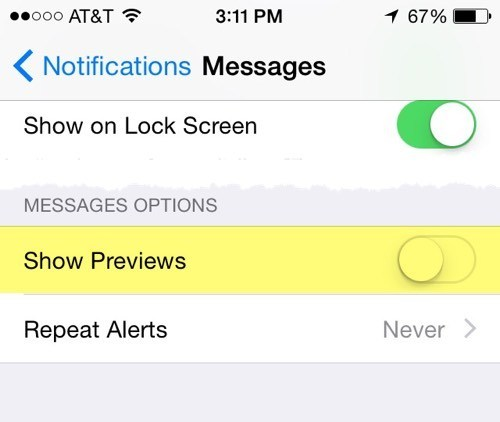 show previews messages